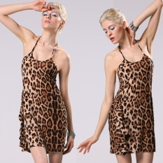 Jual Beli Online S*xy Women Halter Tali Leopard Gaun Mini Tanpa Lengan Tanpa Punggung Clubwear Pesta Gaun Intl