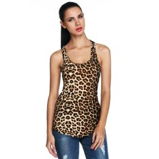 Katalog S*xy Wanita O Neck Leopard Stretch Slim Tank Tops Tanpa Lengan Casual Club Wear Intl Terbaru
