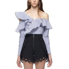 Beli S*xy Women Spring Striped Shirt Oblique Collar Long Sleeve Button Ruffle Blouse Tops Blue Intl Not Specified Murah