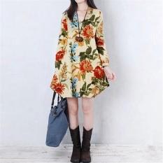 Baju Gaun Mini Cantik Bunga Seksi Perempuan Kain Lengan Leher V Panjang Aprikot Pesta