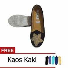 Shae D&A Adira Collection Flat Shoes Flower Motif - Hitam + Free Kaos Kaki