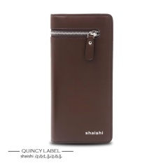 Promo Shaishi Bussiness Men Zipper Pu Leather Long Multicard Walet Purse Handbag Brown Quincylabel