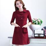 Toko Shanyu Korea Fashion Style Musim Semi Dan Gugur Baru Terlihat Langsing Lengan Slim Gaun Merah Anggur Online Di Tiongkok