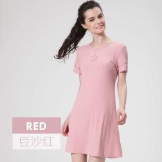 Shi Le Lengan Bang Pendek Paruh Baya Ibu Ukuran Besar Gaun Tidur Wanita Baju Rumah (Pasta Kacang Merah)