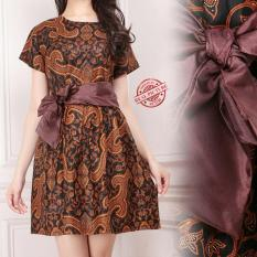 Shininb  collection Dress Midi Xoxo Batik -coklat
