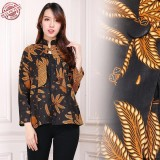 Toko Shining Collection Atasan Blouse Batik Fera Kemeja Wanita Coklat Terlengkap Banten