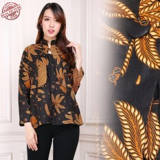 Toko Jual Shining Collection Atasan Blouse Batik Fera Kemeja Wanita Coklat