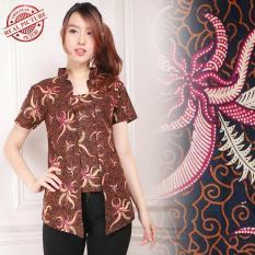 Shining Collection Atasan Blouse Belina Batik Kemeja-Coklat