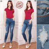 Promo Toko Shining Collection Celana Jeans Sobek Panjang Deasy Long Pants Wanita