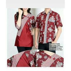 Shining Collection Couple Batik Atasan Khory Blouse Kemeja Wanita dan Atasan Kemeja Pria