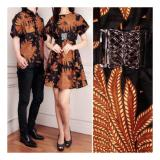 Cuci Gudang Shining Collection Couple Batik Cinta Dress Dan Kemeja Sarimpit Coklat Motif Padi