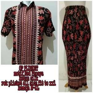 Shining Collection Couple Rok Plisket Lina Maxi Jumbo dan Kemeja Batik Pria 9664b1095a