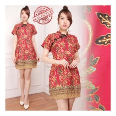 Review Shining Collection Dress Midi Redista Cheongsam Batik Merah Shining