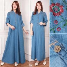 Shining Collection Gamis Maxi Cantika Longdress Jumbo Jeans - BIru Muda