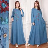 Review Shining Collection Gamis Maxi Citra Longdress Jumbo Jeans Biru Muda Terbaru