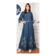 Shining Collection Maxi Dress Jamilah Jeans Jumbo Gamis Bordir Biru Tua Indonesia Diskon