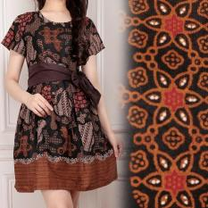 Shining Collection Midi Dress Batik Rosdiana Short Dress Wanita - Coklat