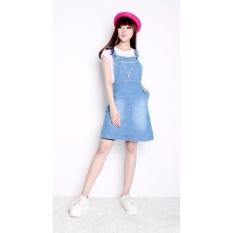 Cuci Gudang Shining Collection Midi Dress Lusiana Short Dress Jeans Biru Muda