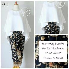 Harga Shining Collection Stelan Kebaya Batwing Syahrini Jumbo Blouse Dan Rok Lilit Putih Original