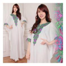 Shining Kaftan Lolita Gamis Jumbo Maxi Dress Bordir-Putih