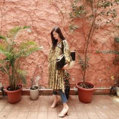 Sama Model With Artis Produk Baru Cetak Lengan Panjang Korea Gaya Busana Gaun (Kuning Suihua)
