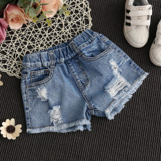 Beli Fashion Musim Panas Gadis Model Tipis Hot Pants Gadis Celana Pendek Denim Denim Biru Denim Biru Pakai Kartu Kredit