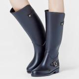Diskon Besarmassolato Sepatu Boot Tinggi Wanita Anti Slip Semua Hitam Gesper