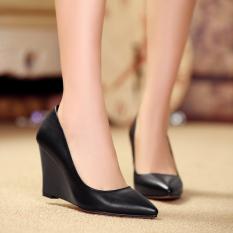 Harga Sepatu Wanita Single Sepatu Wedge Kulit Asli Tumit Putih Pompa Untuk Wanita Hitam Asli