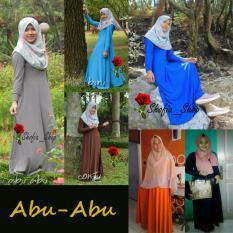 Shofia - Abu abu- Gamis Polos Jersey Super Busui Muslimah All Size Fit to XL