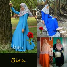 Spek Shofia Biru Gamis Polos Jersey Super Busui Muslimah All Size Fit To Xl