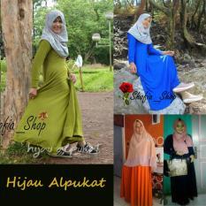 Shofia - Hijau Alpukat - Gamis Polos Jersey Super Busui Muslimah All Size Fit to XL
