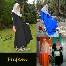 Shofia - Hitam - Gamis Polos Jersey Super Busui Muslimah All Size Fit to XL