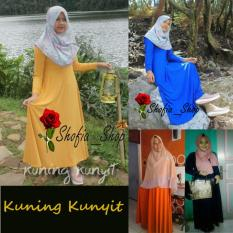 Shofia - Kuning Kunyit - Gamis Polos Jersey Super Busui Muslimah All Size Fit to XL