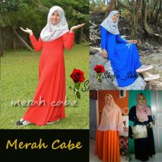 Jual Shofia Merah Cabe Gamis Polos Jersey Super Busui Muslimah All Size Fit To Xl Shofia Asli