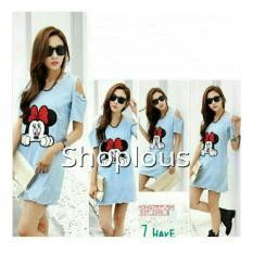 Shoplous Dress Wanita Denim / Dress Cutout / Dress Murah / ress Casual / dress jeans / Dress Mini