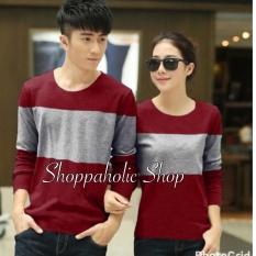 Shoppaholic Shop Baju Couple Two Tone - Merah / Kaos Oblong / Kaos Pasangan / Kaos Couple / Pakaian Kembar / Baju Muslim Wanita / Baju Muslim Pria / Couple