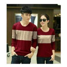 Shoppaholic Shop Baju Couple Two Tone - Merah Cream / Kaos Oblong / Kaos Pasangan / Kaos Couple / Pakaian Kembar / Baju Muslim Wanita / Baju Muslim Pria / Couple