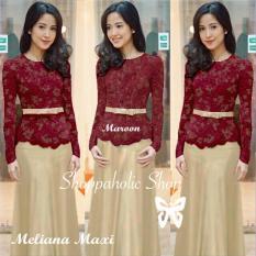 Shoppaholic Shop Baju Muslim Kebaya Meliana - Maroon Kebaya Muslim / Kebaya Wanita / Kebaya Muslimah / Rok Batik / Dress Pesta / Kebaya Pesta