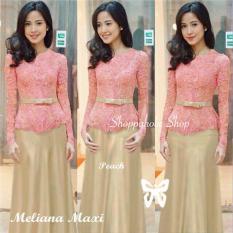 Shoppaholic Shop Baju Muslim Kebaya Meliana - Peach Kebaya Muslim / Kebaya Wanita / Kebaya Muslimah / Rok Batik / Dress Pesta / Kebaya Pesta
