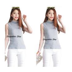 Shoppaholic Shop Kaos Wanita High Neck Tanktop - Abu / Baju Wanita / Blouse Korea / Atasan Wanita / Baju Formal / Kemeja Wanita / Kemeja Formal / Atasan Muslim / Kemeja Cewek Tunik / Kaos Cewek / Turtle Neck / Baju Santai