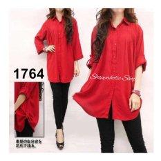 Shoppaholic Shop Kemeja Wanita Jumbo Polos - Merah / Baju Jumbo / Kemeja Jumbo / Big Size / Baju Jumbo Wanita / Baju Muslim Jumbo / Baju Ukuran Besar / XL / XXL / Baju Muslim