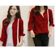 Shoppaholic Shop Kemeja Wanita Kotak - Merah / Baju Wanita / Blouse Korea / Atasan Wanita / Baju Formal / Kemeja Wanita / Kemeja Formal / Atasan Muslim / Kemeja Cewek Tunik / Atasan Wanita