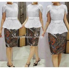 Shoppaholic Shop Kebaya Modern Setelan Baju Rok Batik Set Xingli - Putih Kebaya Muslim / Kebaya Wanita / Kebaya Muslimah / Rok Batik / Dress Pesta / Kebaya Pesta