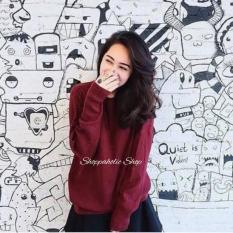 Shoppaholic Shop Sweater Wanita Jumbo Boxy - Maroon / Sweater Wanita / Baju Hangat / Baju Tebal / Sweater Panjang / Kaos Sweater / Baju Jumbo / Big Size