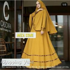 Shopping Yukz Baju Gamis Dress Muslim Syari Wanita ANZA MUSTARD ( Dapat Jilbab ) / Hijab Muslimah / Baju Muslimah Wanita / Syari Syari'i Muslim / Gaun Muslim / Long Dress Muslimah Wanita