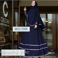 Shopping Yukz Baju Gamis Dress Muslim Syari Wanita ANZA - NAVI ( Dapat Jilbab ) / Hijab Muslimah / Baju Muslimah Wanita / Syari Syari'i Muslim / Gaun Muslim / Long Dress Muslimah Wanita