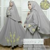 Beli Shopping Yukz Baju Gamis Dress Muslim Syari Wanita Eyya Bordir Abu Dapat Jilbab Hijab Muslimah Baju Muslimah Wanita Syari Syari I Muslim Gaun Muslim Long Dress Muslimah Wanita Cicil