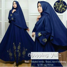 Shopping Yukz Baju Gamis Dress Muslim Syari Wanita EYYA BORDIR - NAVI ( Dapat Jilbab ) / Hijab Muslimah / Baju Muslimah Wanita / Syari Syari'i Muslim / Gaun Muslim / Long Dress Muslimah Wanita