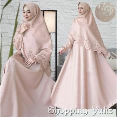 Shopping Yukz Baju Gamis Dress Muslim Syari Wanita RESYIA Emboss+Laser  - LATTE ( Dapat Jilbab ) / Hijab Muslimah / Baju Muslimah Wanita / Syari Syari'i Muslim / Gaun Muslim / Long Dress Muslimah Wanita