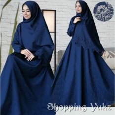 Shopping Yukz Baju Gamis Dress Muslim Syari Wanita RESYIA Emboss+Laser  - NAVI ( Dapat Jilbab ) / Hijab Muslimah / Baju Muslimah Wanita / Syari Syari'i Muslim / Gaun Muslim / Long Dress Muslimah Wanita